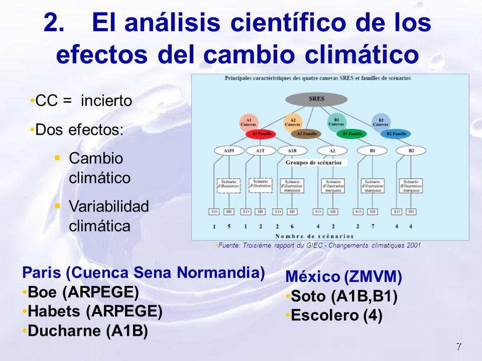 7 2.El análisis científico de los efectos del cambio climático CC = incierto Dos efectos: Cambio climático Variabilidad climática Fuente: Troisième ra