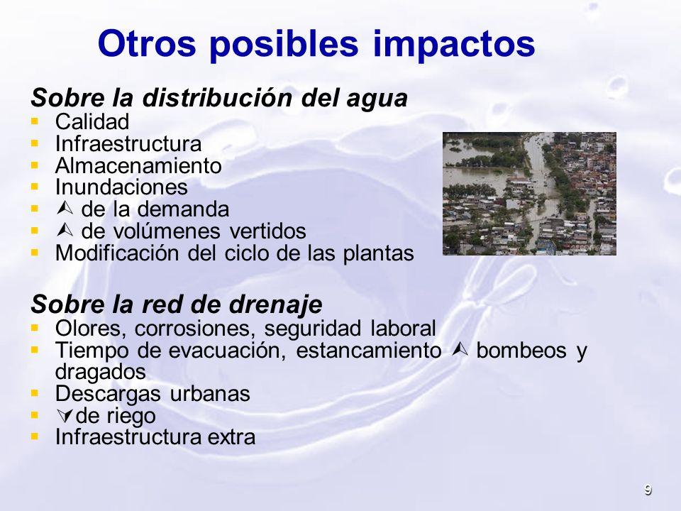 Otros posibles impactos Sobre la distribución del agua Calidad Infraestructura Almacenamiento Inundaciones de la demanda de volúmenes vertidos Modific