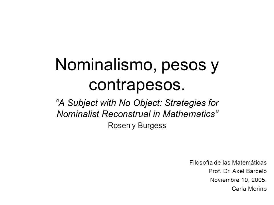 En conclusión la referencia… …es un problema para los nominalistas si uno asume que el peso de la prueba está en que los nominalistas enuncien y establezcan una teoría causal de la referencia detallada.