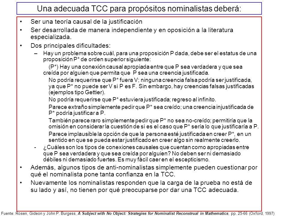 Una adecuada TCC para propósitos nominalistas deberá: Ser una teoría causal de la justificación Ser desarrollada de manera independiente y en oposició
