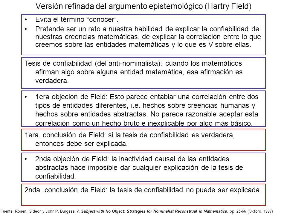 Versión refinada del argumento epistemológico (Hartry Field) Evita el término conocer. Pretende ser un reto a nuestra habilidad de explicar la confiab
