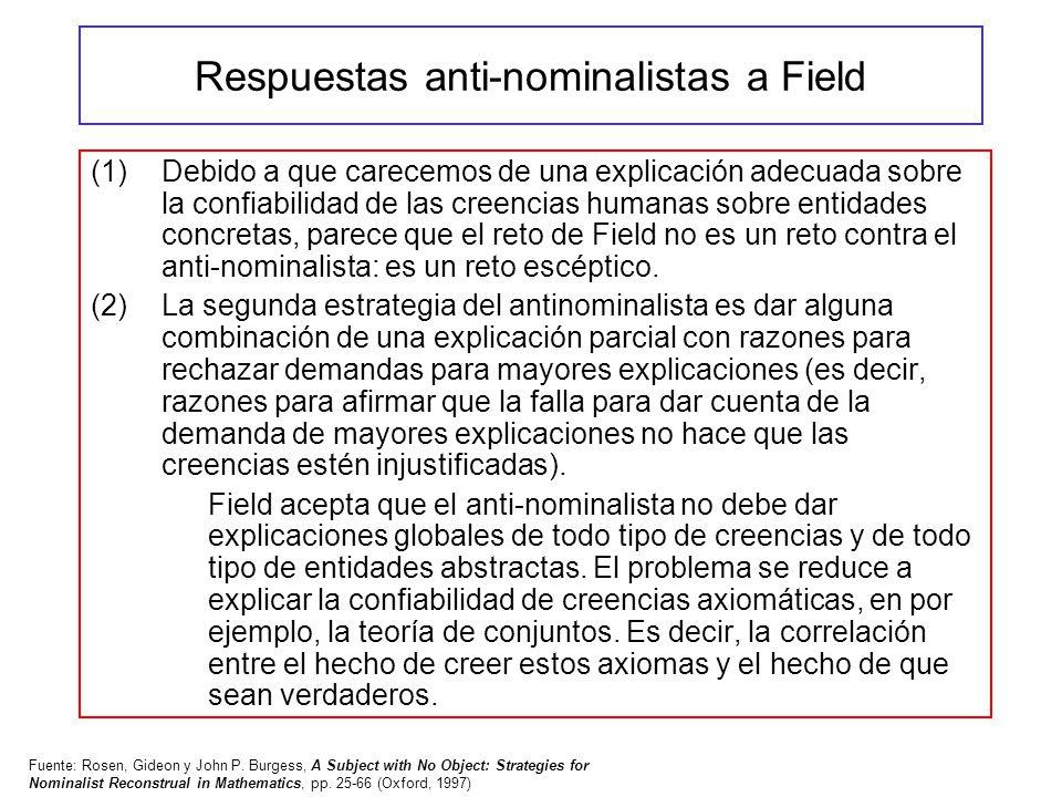 Respuestas anti-nominalistas a Field (1)Debido a que carecemos de una explicación adecuada sobre la confiabilidad de las creencias humanas sobre entid