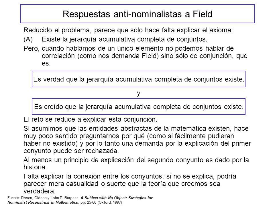 Respuestas anti-nominalistas a Field Reducido el problema, parece que sólo hace falta explicar el axioma: (A)Existe la jerarquía acumulativa completa