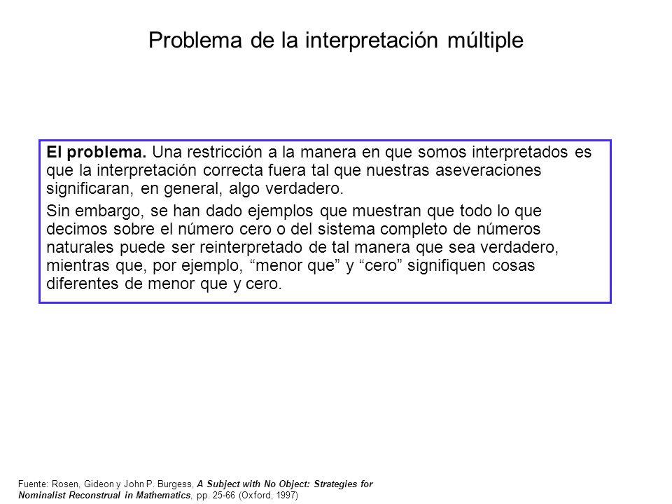 Problema de la interpretación múltiple El problema. Una restricción a la manera en que somos interpretados es que la interpretación correcta fuera tal