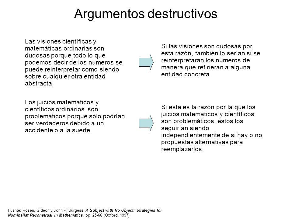 Argumentos destructivos Las visiones científicas y matemáticas ordinarias son dudosas porque todo lo que podemos decir de los números se puede reinter