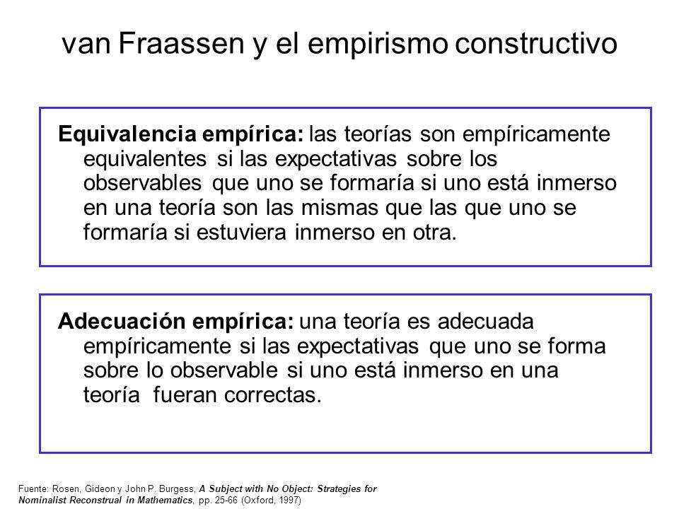 van Fraassen y el empirismo constructivo Equivalencia empírica: las teorías son empíricamente equivalentes si las expectativas sobre los observables q