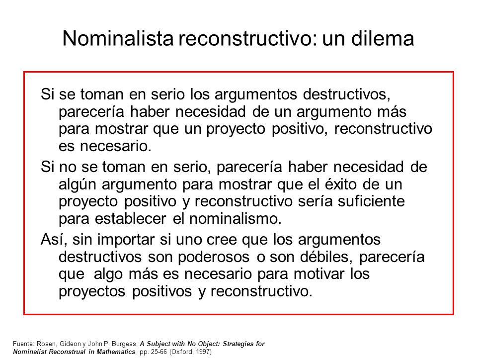 Nominalista reconstructivo: un dilema Si se toman en serio los argumentos destructivos, parecería haber necesidad de un argumento más para mostrar que