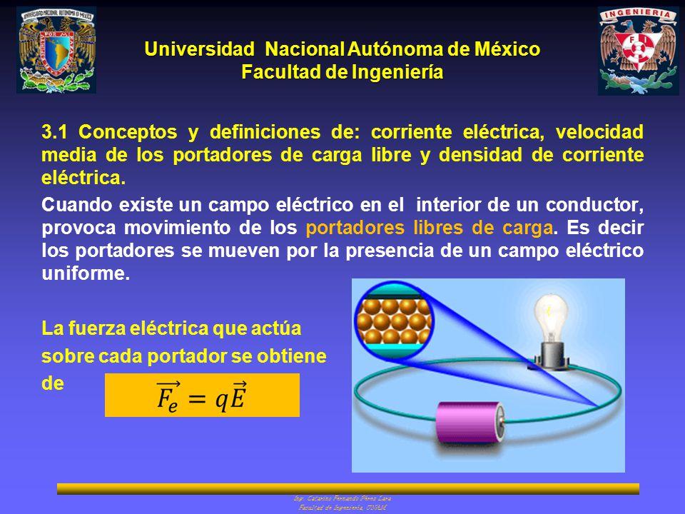 Universidad Nacional Autónoma de México Facultad de Ingeniería Ing. Catarino Fernando Pérez Lara Facultad de Ingeniería, UNAM 3.1 Conceptos y definici