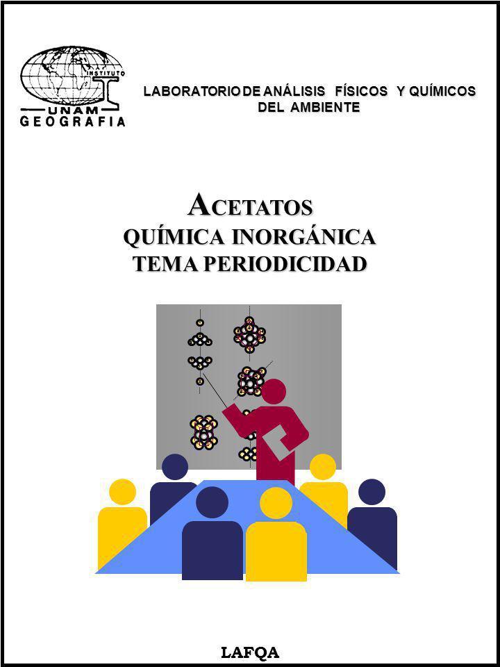 A CETATOS QUÍMICA INORGÁNICA TEMA PERIODICIDAD LAFQA 1 2 3 4 5 6 7 8 1 2 3 4 5 6 8 8 6 52 3 4 1 LABORATORIO DE ANÁLISIS FÍSICOS Y QUÍMICOS LABORATORIO