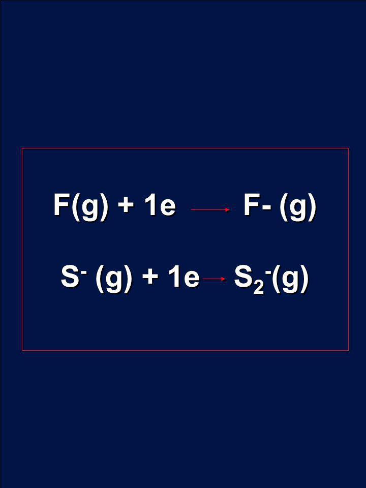 F(g) + 1e F- (g) S - (g) + 1e S 2 - (g) F(g) + 1e F- (g) S - (g) + 1e S 2 - (g)