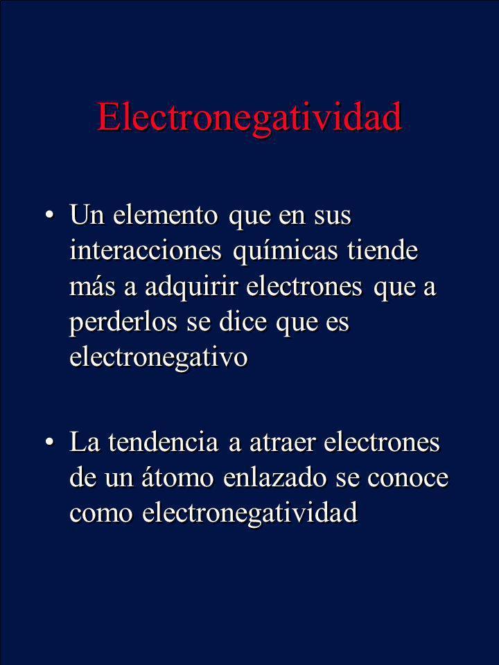 Electronegatividad Un elemento que en sus interacciones químicas tiende más a adquirir electrones que a perderlos se dice que es electronegativo La te