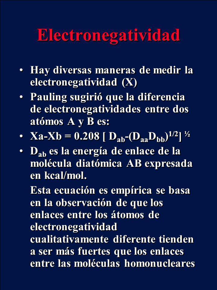 Electronegatividad Hay diversas maneras de medir la electronegatividad (X) Pauling sugirió que la diferencia de electronegatividades entre dos atómos