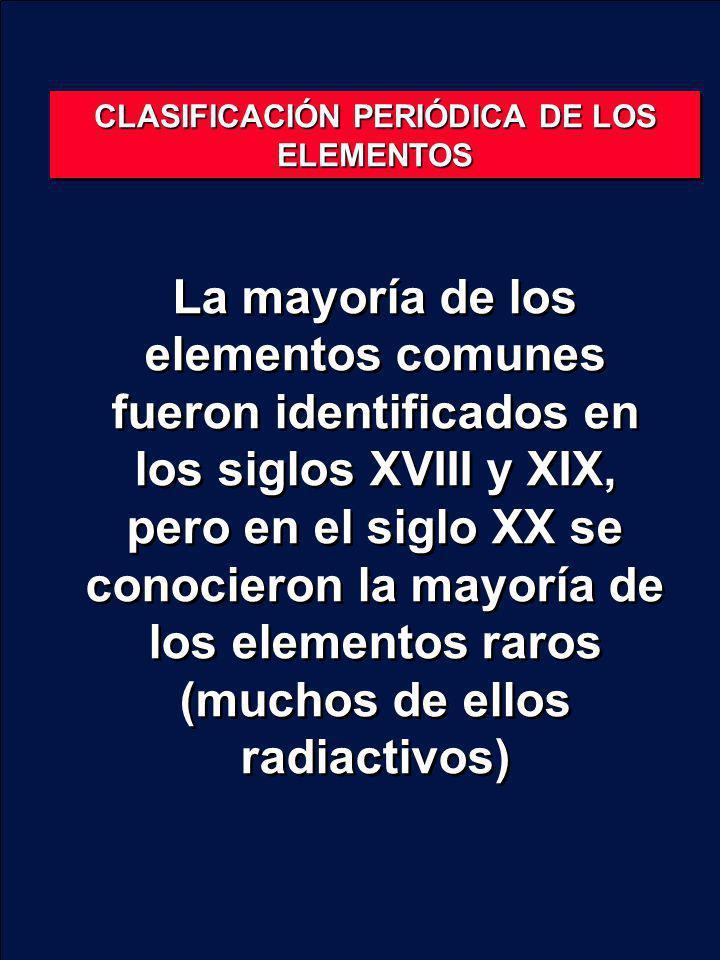 La mayoría de los elementos comunes fueron identificados en los siglos XVIII y XIX, pero en el siglo XX se conocieron la mayoría de los elementos raro