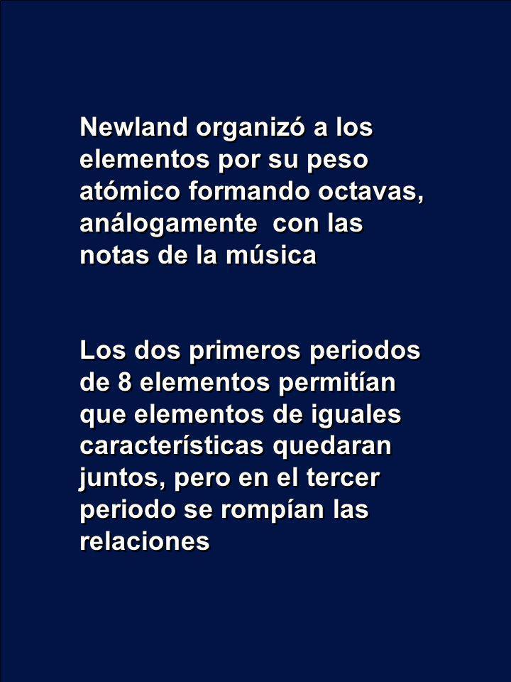 Newland organizó a los elementos por su peso atómico formando octavas, análogamente con las notas de la música Los dos primeros periodos de 8 elemento