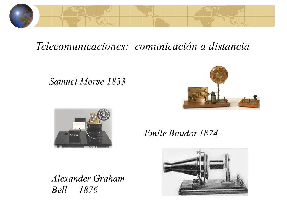 Telecomunicaciones: comunicación a distancia Samuel Morse 1833 Emile Baudot 1874 Alexander Graham Bell 1876