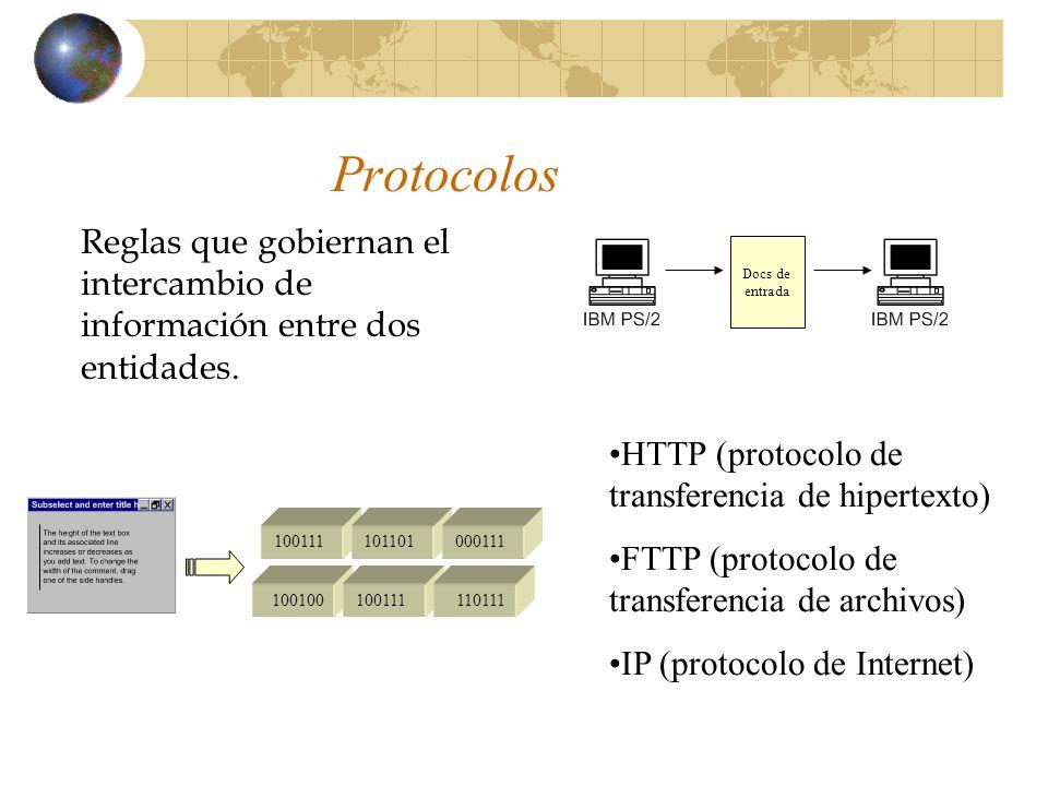 Protocolos Reglas que gobiernan el intercambio de información entre dos entidades. HTTP (protocolo de transferencia de hipertexto) FTTP (protocolo de