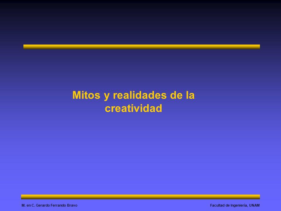 Facultad de Ingeniería, UNAMM. en C. Gerardo Ferrando Bravo Mitos y realidades de la creatividad