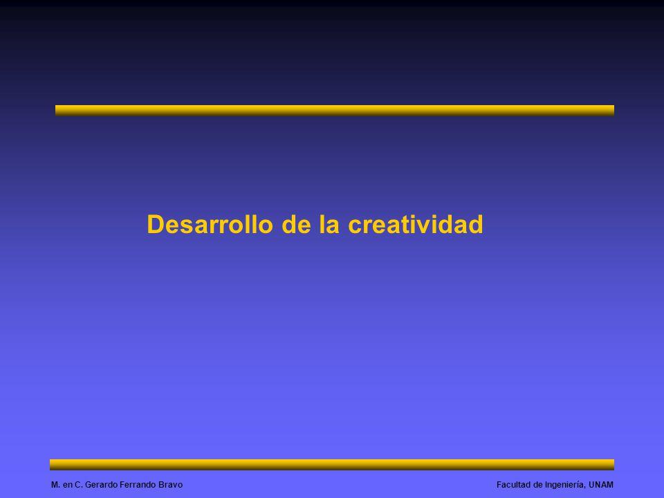 Facultad de Ingeniería, UNAMM. en C. Gerardo Ferrando Bravo Desarrollo de la creatividad