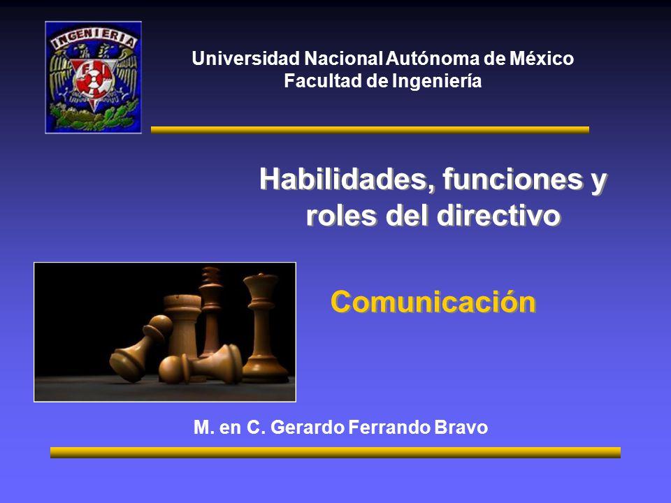 Universidad Nacional Autónoma de México Facultad de Ingeniería Habilidades, funciones y roles del directivo Comunicación Habilidades, funciones y role