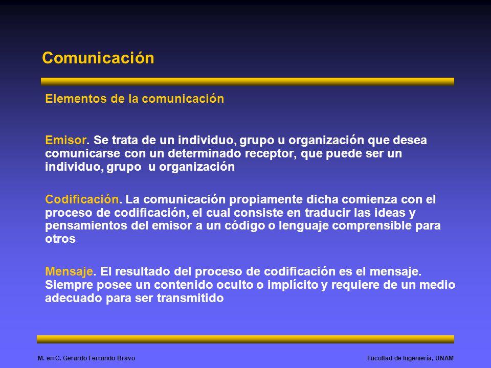 Facultad de Ingeniería, UNAMM. en C. Gerardo Ferrando Bravo Comunicación Elementos de la comunicación Emisor. Se trata de un individuo, grupo u organi