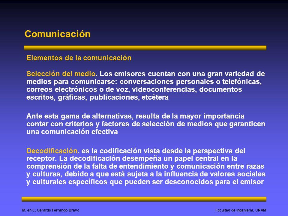 Facultad de Ingeniería, UNAMM. en C. Gerardo Ferrando Bravo Comunicación Elementos de la comunicación Selección del medio. Los emisores cuentan con un