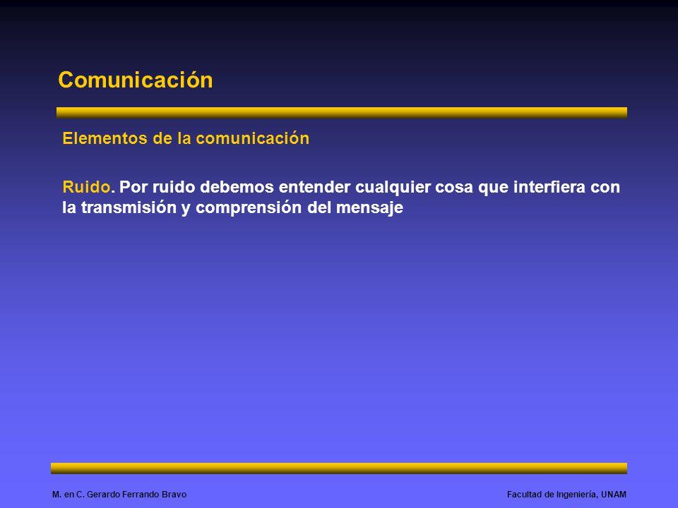 Facultad de Ingeniería, UNAMM. en C. Gerardo Ferrando Bravo Comunicación Elementos de la comunicación Ruido. Por ruido debemos entender cualquier cosa