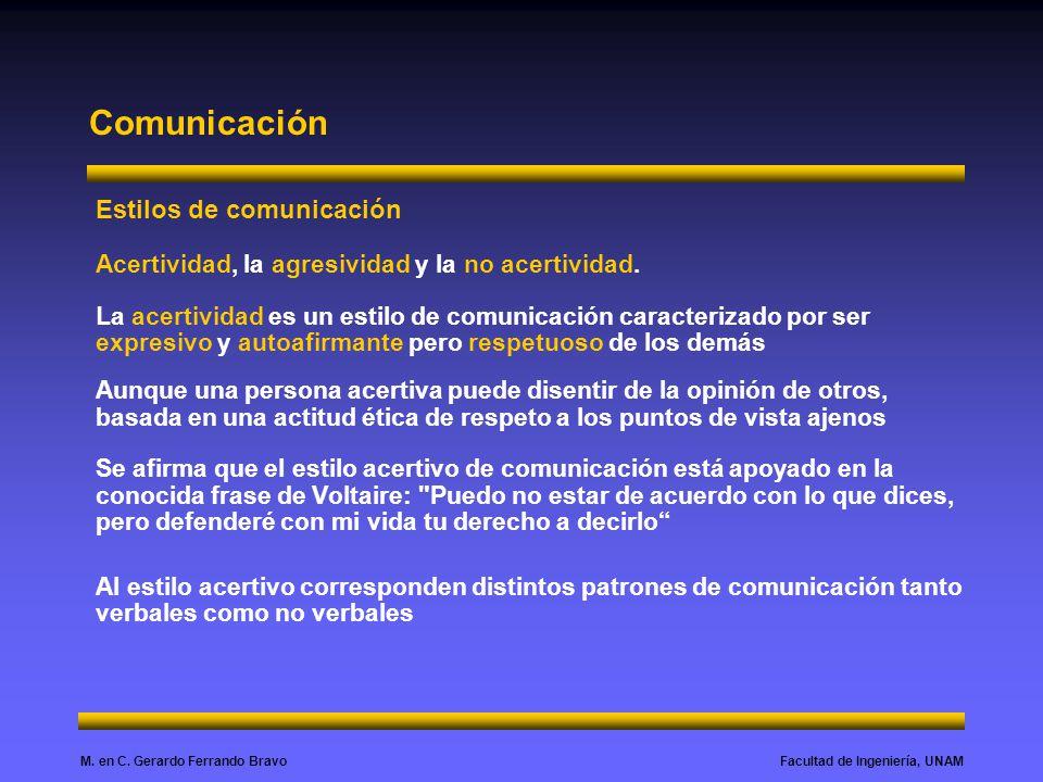 Facultad de Ingeniería, UNAMM. en C. Gerardo Ferrando Bravo Comunicación Estilos de comunicación Acertividad, la agresividad y la no acertividad. La a