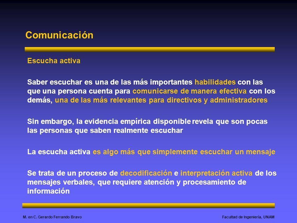 Facultad de Ingeniería, UNAMM. en C. Gerardo Ferrando Bravo Comunicación Escucha activa Saber escuchar es una de las más importantes habilidades con l