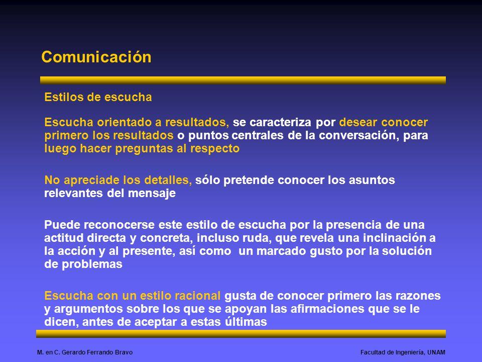 Facultad de Ingeniería, UNAMM. en C. Gerardo Ferrando Bravo Comunicación Estilos de escucha Escucha orientado a resultados, se caracteriza por desear