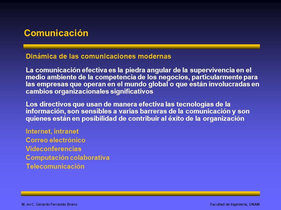 Facultad de Ingeniería, UNAMM. en C. Gerardo Ferrando Bravo Comunicación Dinámica de las comunicaciones modernas La comunicación efectiva es la piedra