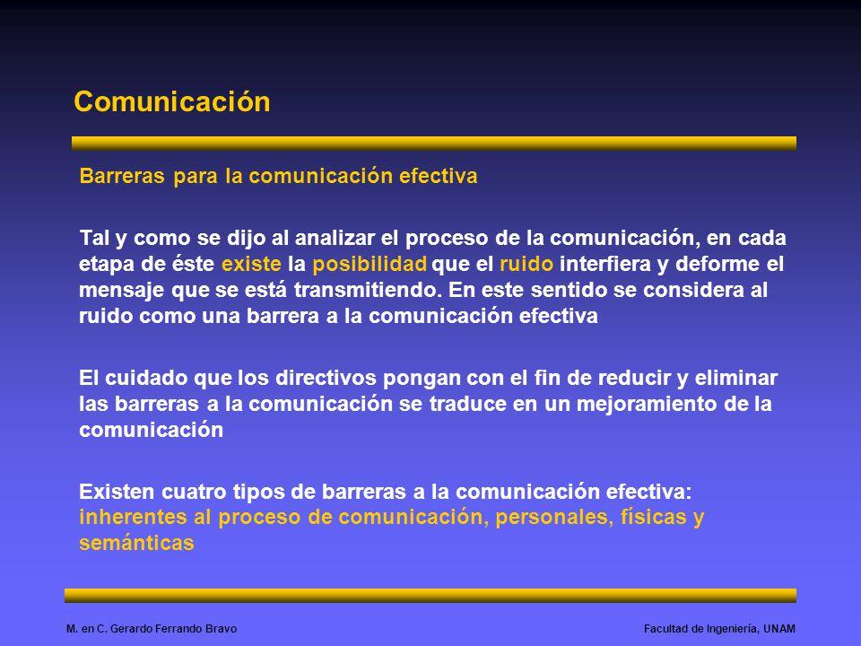 Facultad de Ingeniería, UNAMM. en C. Gerardo Ferrando Bravo Comunicación Barreras para la comunicación efectiva Tal y como se dijo al analizar el proc