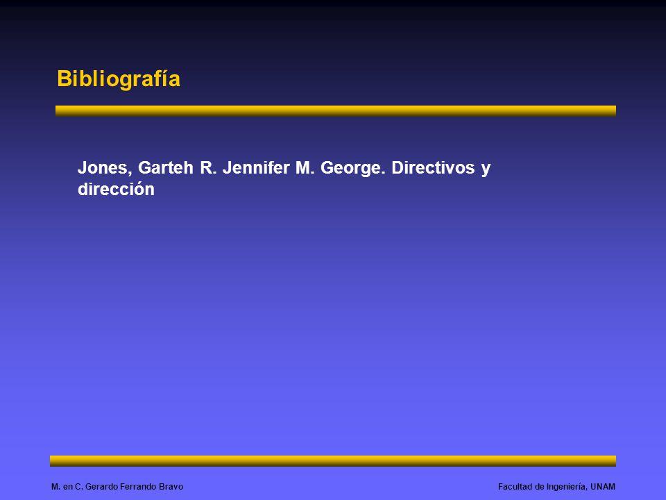 Facultad de Ingeniería, UNAMM. en C. Gerardo Ferrando Bravo Bibliografía Jones, Garteh R. Jennifer M. George. Directivos y dirección