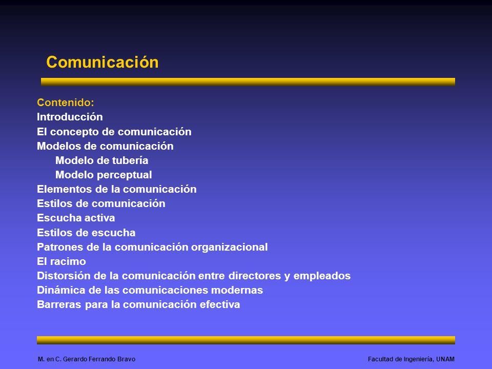 Facultad de Ingeniería, UNAMM. en C. Gerardo Ferrando Bravo Contenido: Introducción El concepto de comunicación Modelos de comunicación Modelo de tube