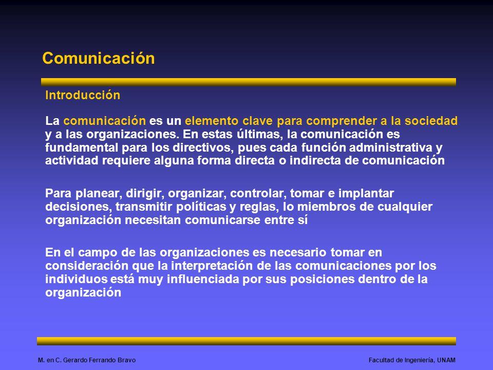 Facultad de Ingeniería, UNAMM. en C. Gerardo Ferrando Bravo Comunicación Introducción La comunicación es un elemento clave para comprender a la socied