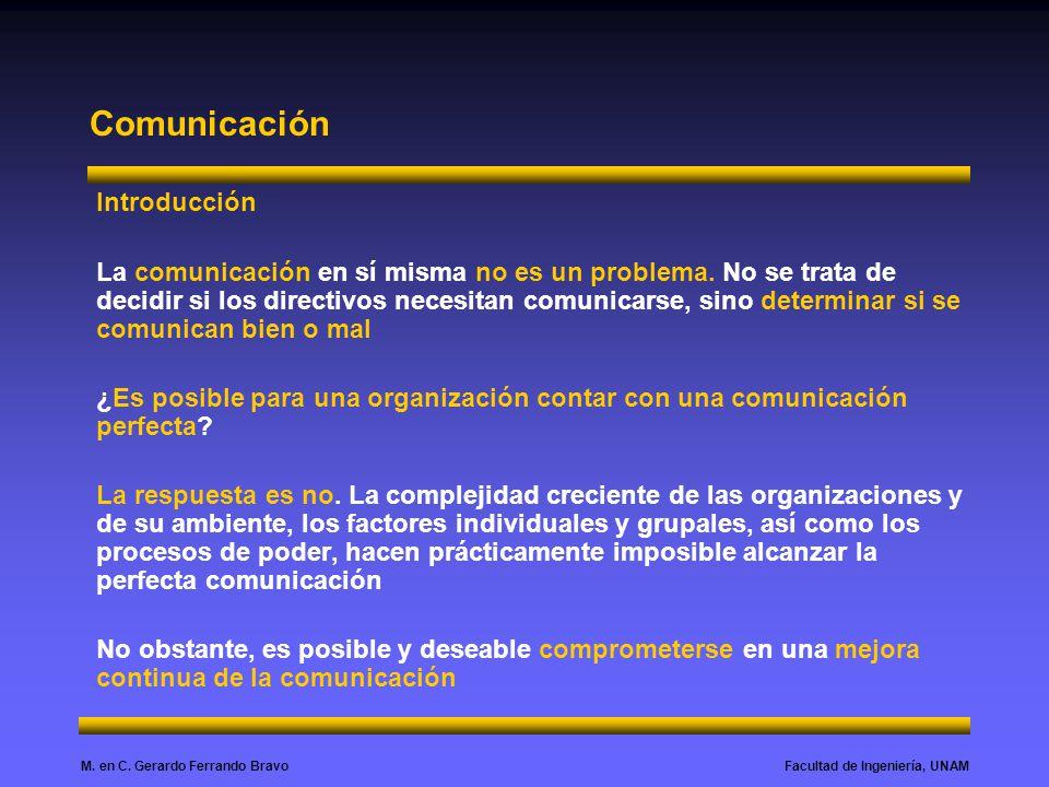 Facultad de Ingeniería, UNAMM. en C. Gerardo Ferrando Bravo Comunicación Introducción La comunicación en sí misma no es un problema. No se trata de de