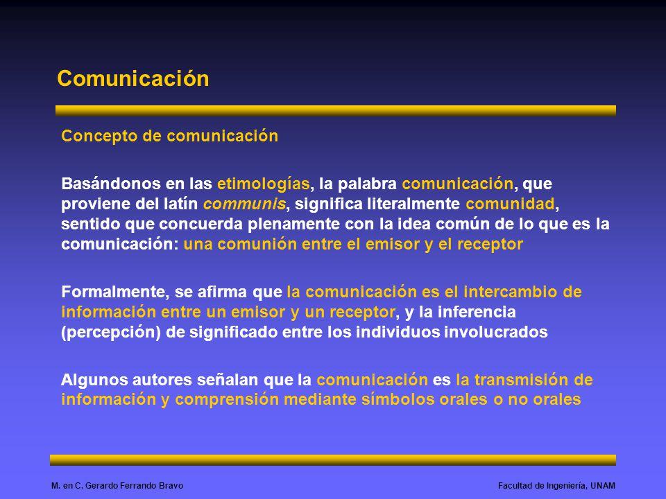 Facultad de Ingeniería, UNAMM. en C. Gerardo Ferrando Bravo Comunicación Concepto de comunicación Basándonos en las etimologías, la palabra comunicaci
