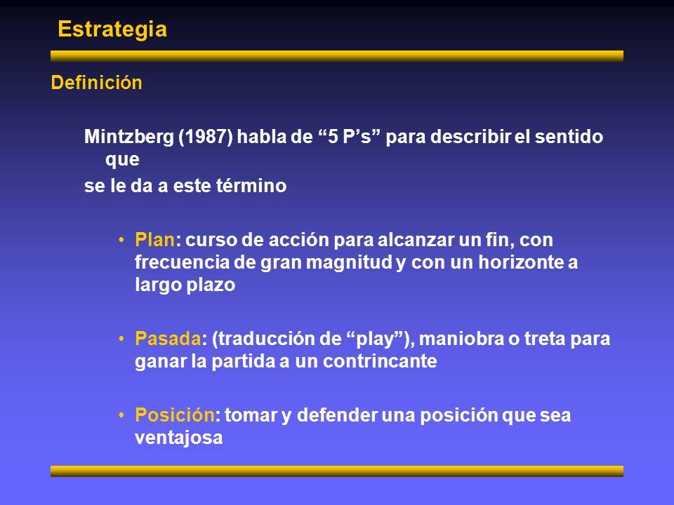 Estrategia Definición Mintzberg (1987) habla de 5 Ps para describir el sentido que se le da a este término Patrón: gradualmente, los enfoque exitosos se convierten en la estrategia, es decir, un modelo o modo de actuar Perspectiva: visión fundamental de la organización Falta señalar que ninguna P tiene por si sola un valor estrátegico ya que además debe contar con una alto grado de relevancia