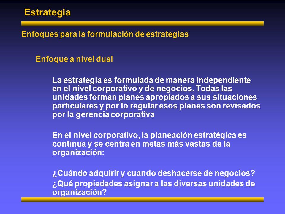 Estrategia Niveles de estrategia Estrategia a nivel corporativo Esta estrategia la formula la alta administración con el fin de supervisar los intereses y las operaciones de organizaciones que cuentan con más de una línea de negocios Las principales preguntas que se deben responder a este nivel son: ¿En qué tipo de negocios se debe involucrar la compañía.