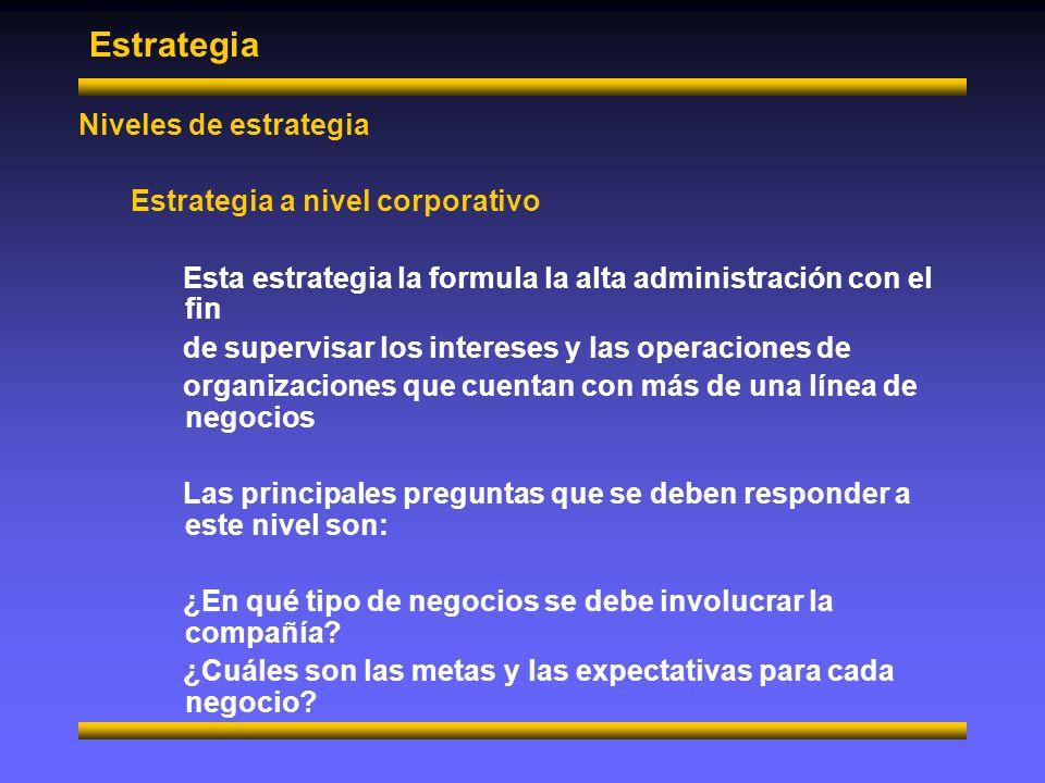 Estrategia Niveles de estrategia Estrategia de unidad de negocios Esta estrategia es formulada para alcanzar las metas de negocios específicos y se ocupa de la administración de los intereses y operaciones de un negocio particular Este trata con preguntas tales como: ¿Cómo competirán los negocios dentro de su mercado.