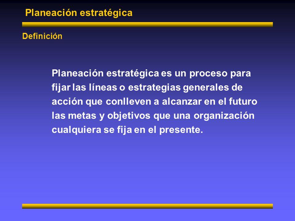 Planeación estratégica Ventajas Mejora el funcionamiento de la empresa Al guiarla más directamente a la consecución de su misión.