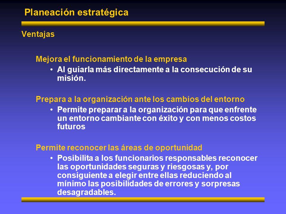 Planeación estratégica Elementos Determinación de la misión Esto es, la razón de ser de la empresa, gerencia o departamento.