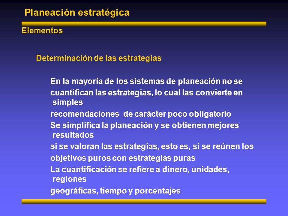 Planeación Estratégica Elementos Determinación de las tácticas Acabamos de definir las estrategias como grandes caminos para concretizar la razón de ser.