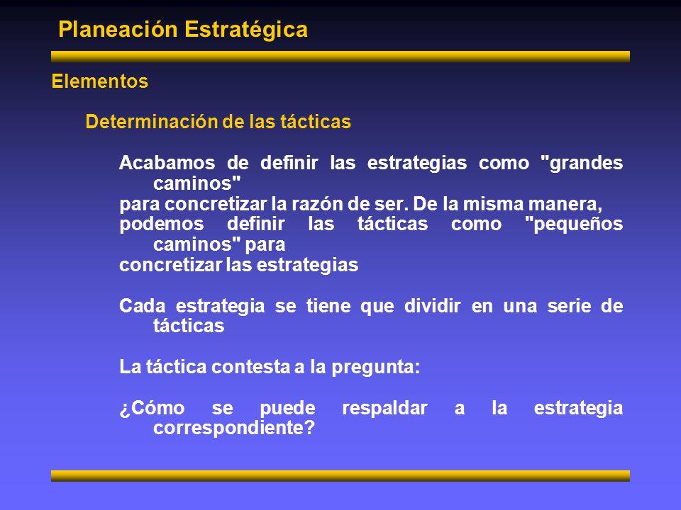 Planeación estratégica Elementos Determinación de las tácticas Igual que a las estrategias es indispensable cuantificar a las tácticas.