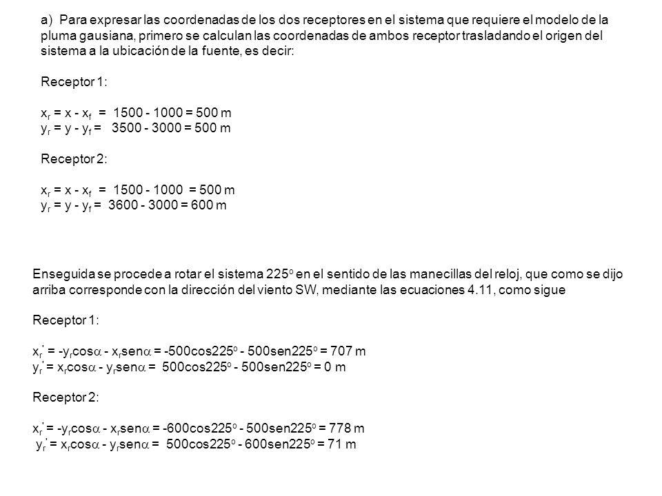 a) Para expresar las coordenadas de los dos receptores en el sistema que requiere el modelo de la pluma gausiana, primero se calculan las coordenadas
