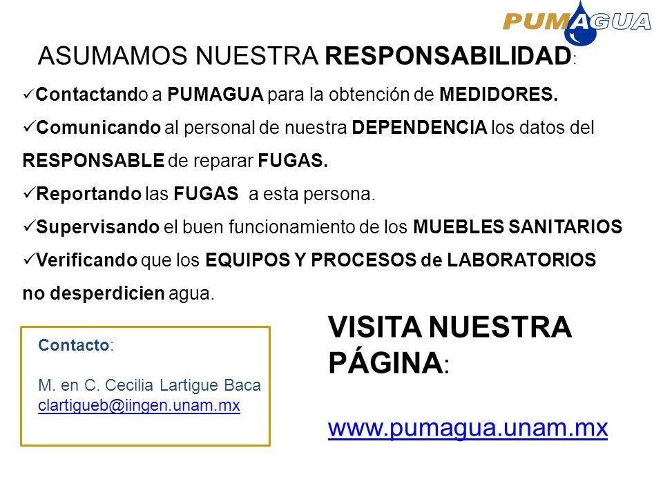 Contactando a PUMAGUA para la obtención de MEDIDORES. Comunicando al personal de nuestra DEPENDENCIA los datos del RESPONSABLE de reparar FUGAS. Repor