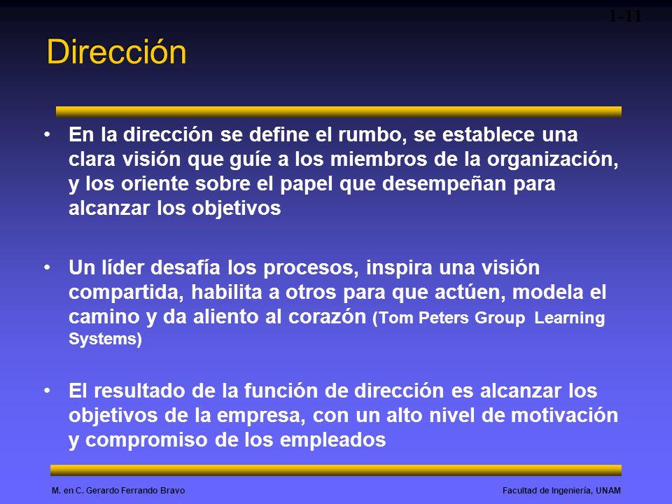 Facultad de Ingeniería, UNAMM. en C. Gerardo Ferrando Bravo Dirección En la dirección se define el rumbo, se establece una clara visión que guíe a los