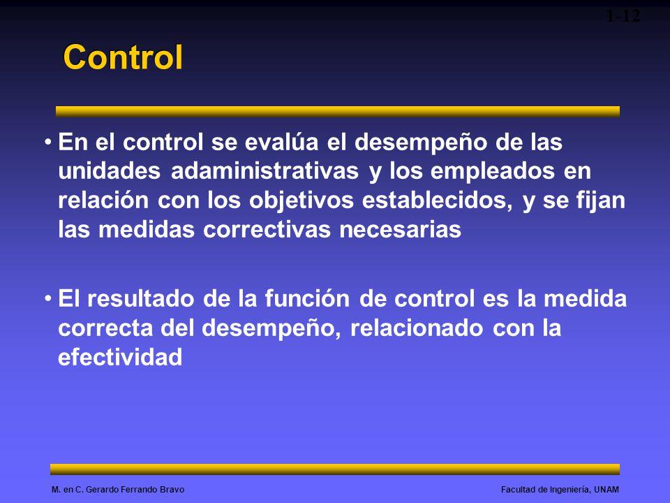 Facultad de Ingeniería, UNAMM. en C. Gerardo Ferrando Bravo Control En el control se evalúa el desempeño de las unidades adaministrativas y los emplea