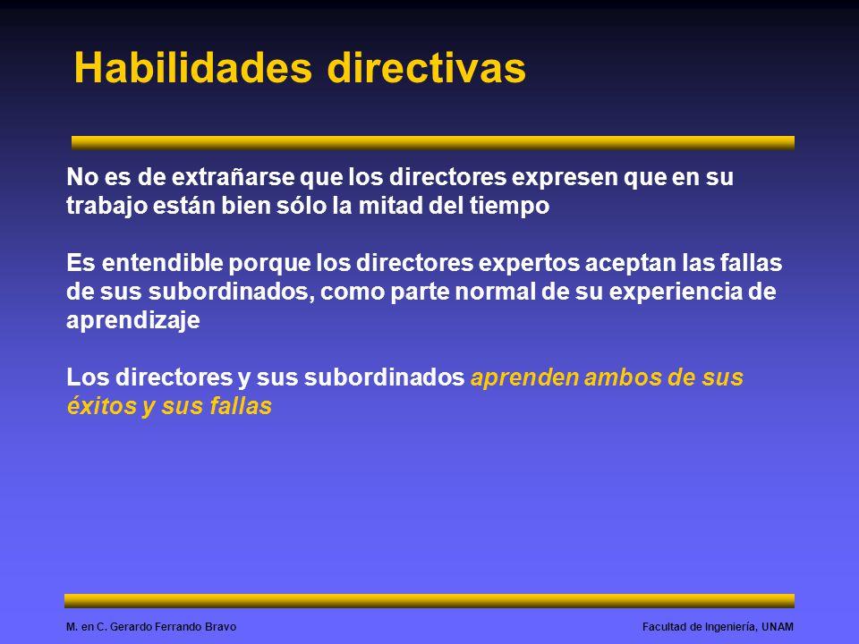 Facultad de Ingeniería, UNAMM. en C. Gerardo Ferrando Bravo Habilidades directivas No es de extrañarse que los directores expresen que en su trabajo e