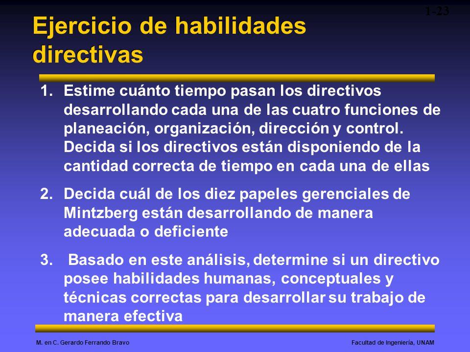 Facultad de Ingeniería, UNAMM. en C. Gerardo Ferrando Bravo Ejercicio de habilidades directivas 1-23 1.Estime cuánto tiempo pasan los directivos desar