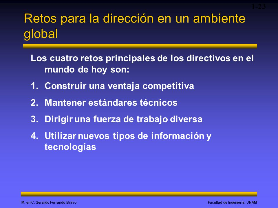 Facultad de Ingeniería, UNAMM. en C. Gerardo Ferrando Bravo Retos para la dirección en un ambiente global 1-23 Los cuatro retos principales de los dir
